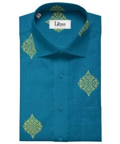 Solino Men's Linen Printed 2.25Meter Unstitched Shirting Fabric (Dark Firozi Blue)