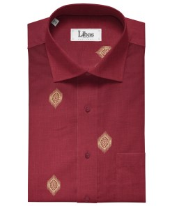 Solino Men's Linen Printed 2.25Meter Unstitched Shirting Fabric (Red)