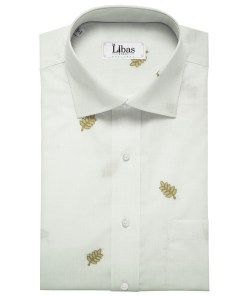 Solino Men's Linen Embroidered 2.25Meter Unstitched Shirting Fabric (White)