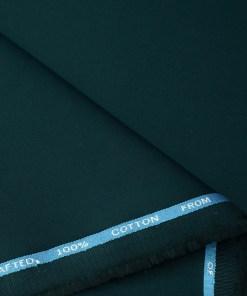 Burgoyne Men's Cotton Solids  Unstitched Trouser Fabric (Peacock Blue)