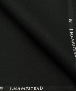 J.Hampstead Men's Polyester Viscose Structured 3.75 Meter Unstitched Suiting Fabric (Black)