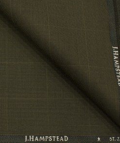J.Hampstead Men's Polyester Viscose Checks 3.75 Meter Unstitched Suiting Fabric (Medium Brown)