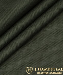 J.Hampstead Men's Cotton Structured  Unstitched Trouser Fabric (Green)