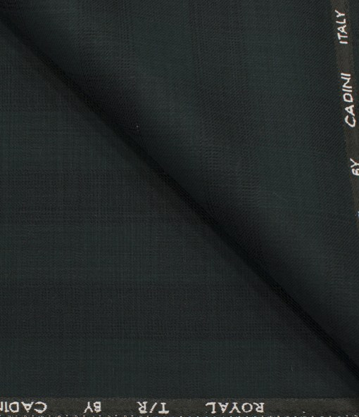 Cadini Men's Terry Rayon Checks 3.75 Meter Unstitched Suiting Fabric (Dark Pine Green)