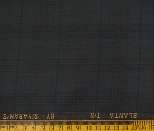 Siyaram's Men's Terry Rayon Checks 3.75 Meter Unstitched Suiting Fabric (Dark Grey)