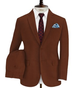 EMEF Men's Terry Rayon Solids 3.75 Meter Unstitched Suiting Fabric (Cinmon Brown)