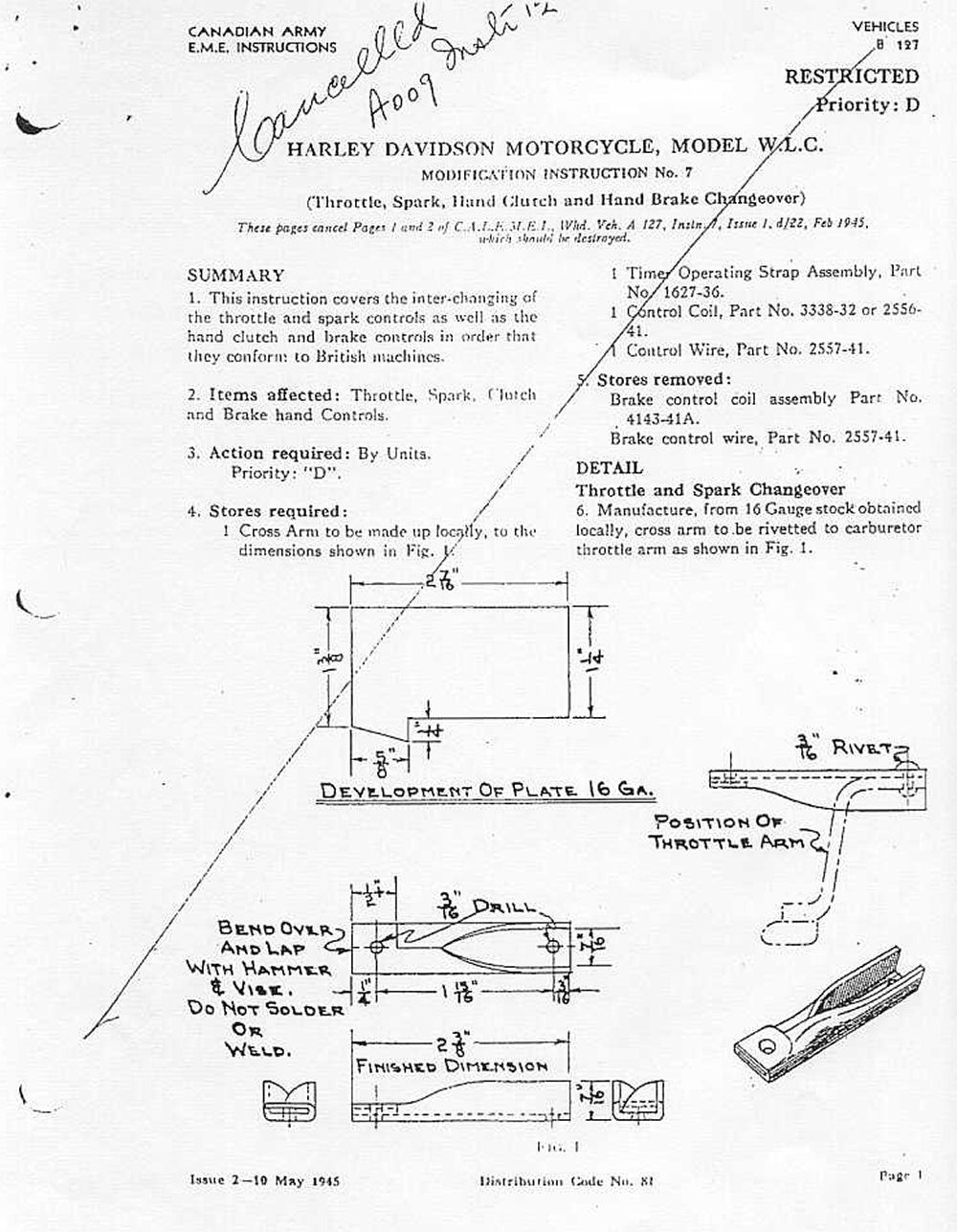 'modification instruction n°8' relocation of stop and tail light wire conduit