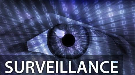 Surveillance illustration eye over digital data information