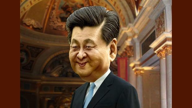 Xi Jinping with backdrop