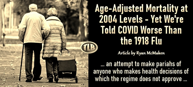 Age-Adjusted Mortality at 2004 Levels – Yet We are Told COVID Worse Than the 1918 Flu – FI 10 12 21-min