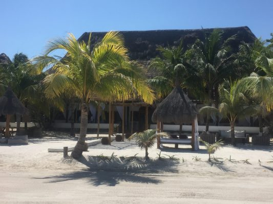 photo of palm-shaded resort building on white sand beach on la isla bonita holbox mexico