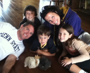 Brad Dillman family and three lion head bunnies