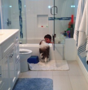 Dog leaning in bathtub with small kid