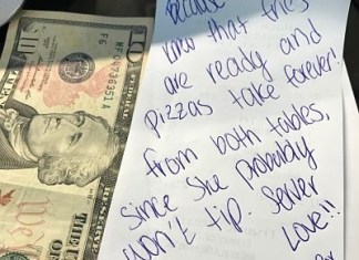 best waitress tip from a paying guest