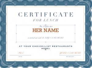 lunch certificate for new moms