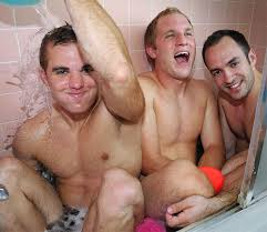 three men in a tub
