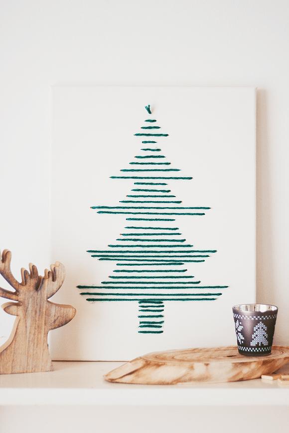 DIY kerst art met wol