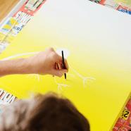 DIY ombré paardenbloem schilderij
