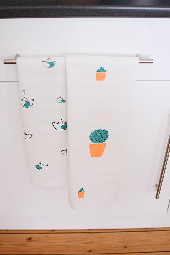 DIY: theedoeken met cactus/marineprint