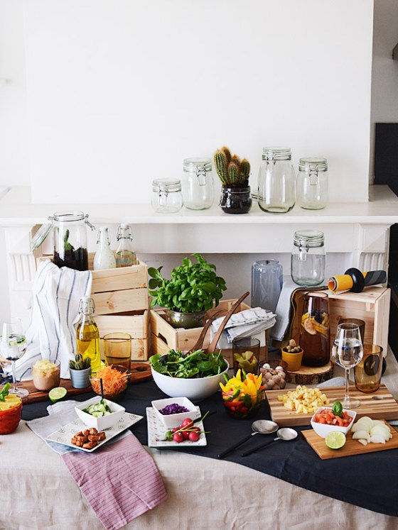Een salad bar / jar party met IKEA