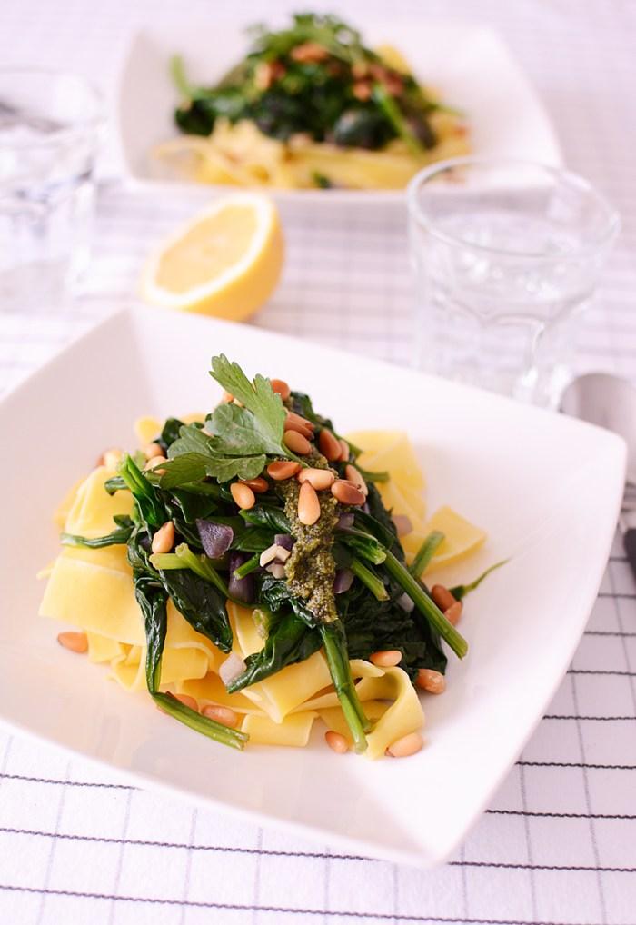 Papardelle met spinazie en limoenpesto