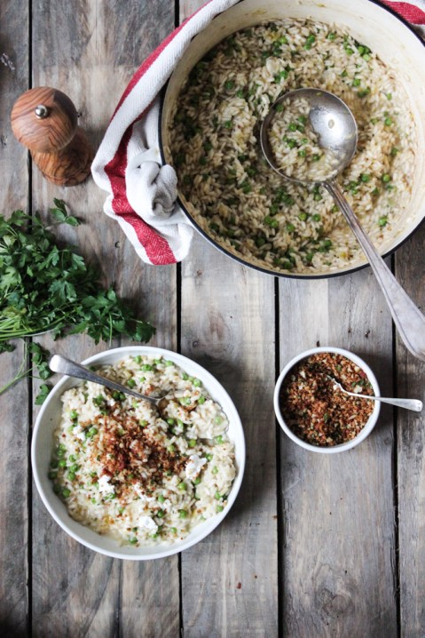 risotto, goats cheese risotto, pea risotto, pangrattato, italian cooking, recipes, ingredients, family meals, easy dinner, main meal, healthy dinner, vegetarian, italian risotto, arancini, the life harvest, food blog
