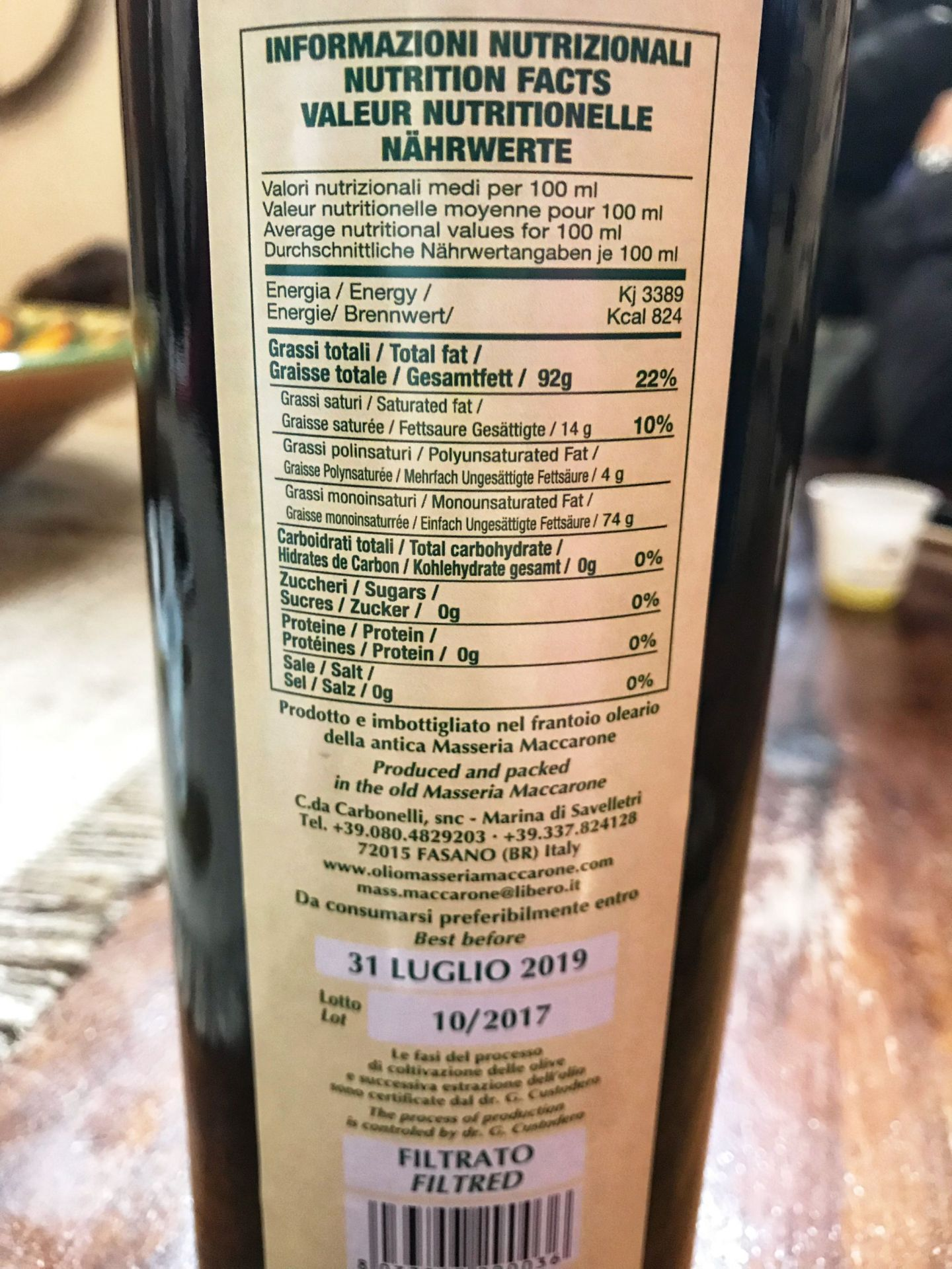 Italian Extra Virgin Olive Oil Ingredients and Packgaing label