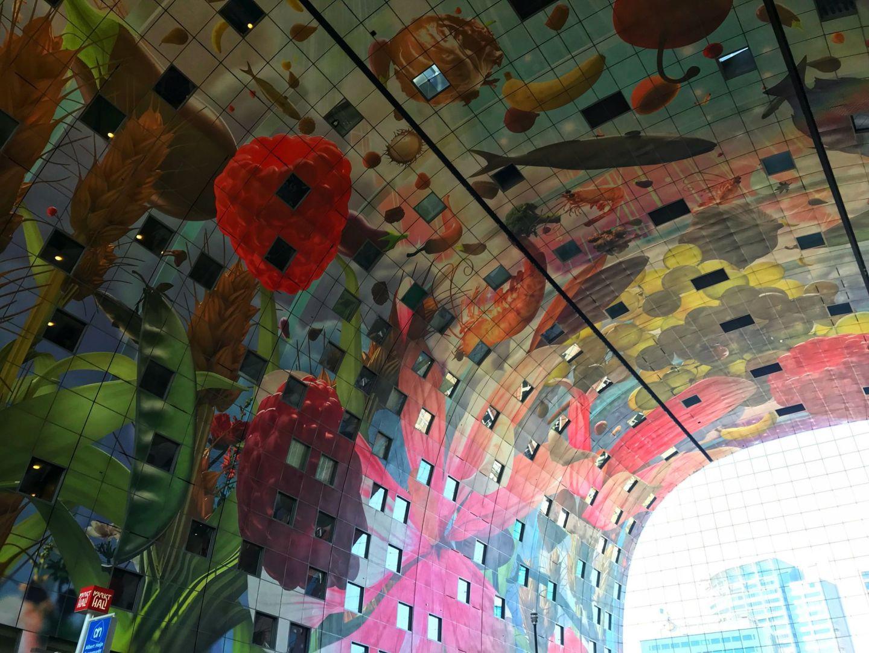 Horn of Plenty ceiling art at Markthal by Arno Coenen Rotterdam