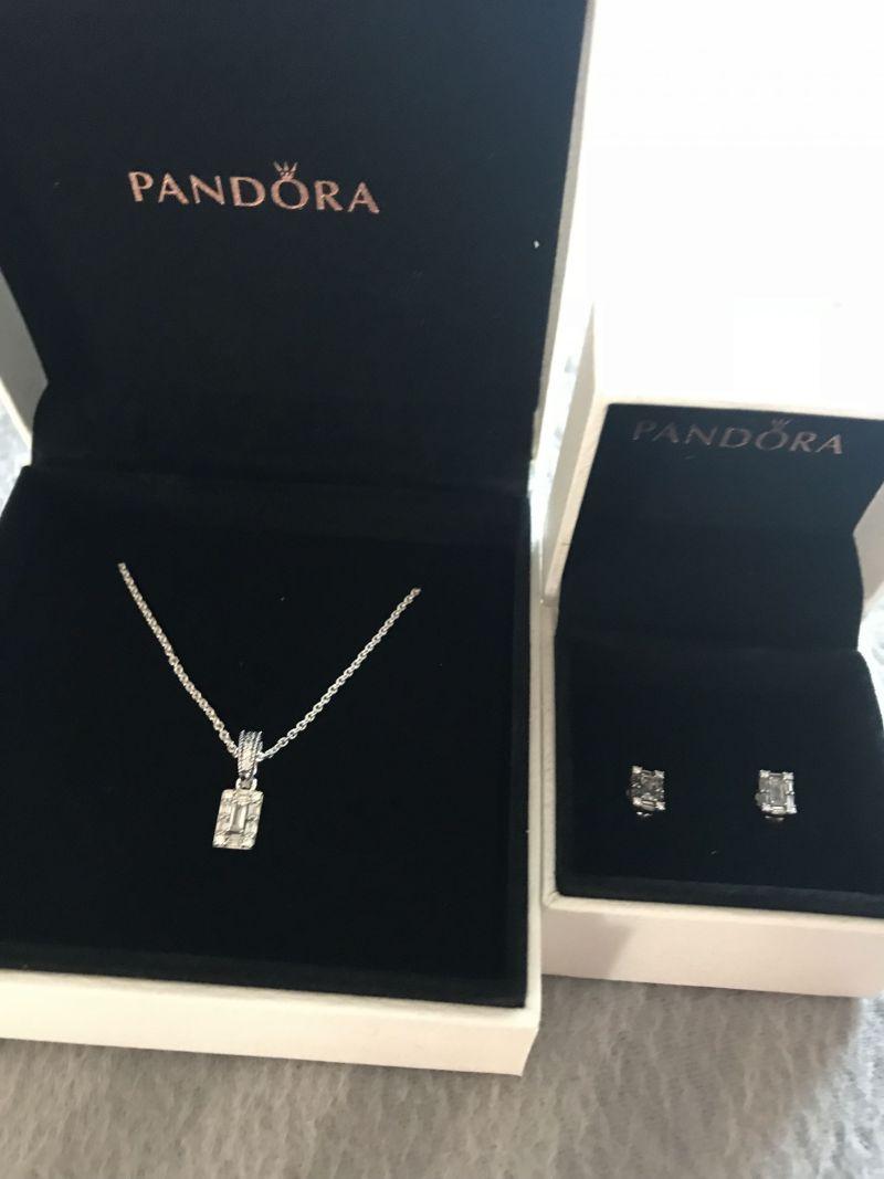 PANDORA silver ice baguette gift set