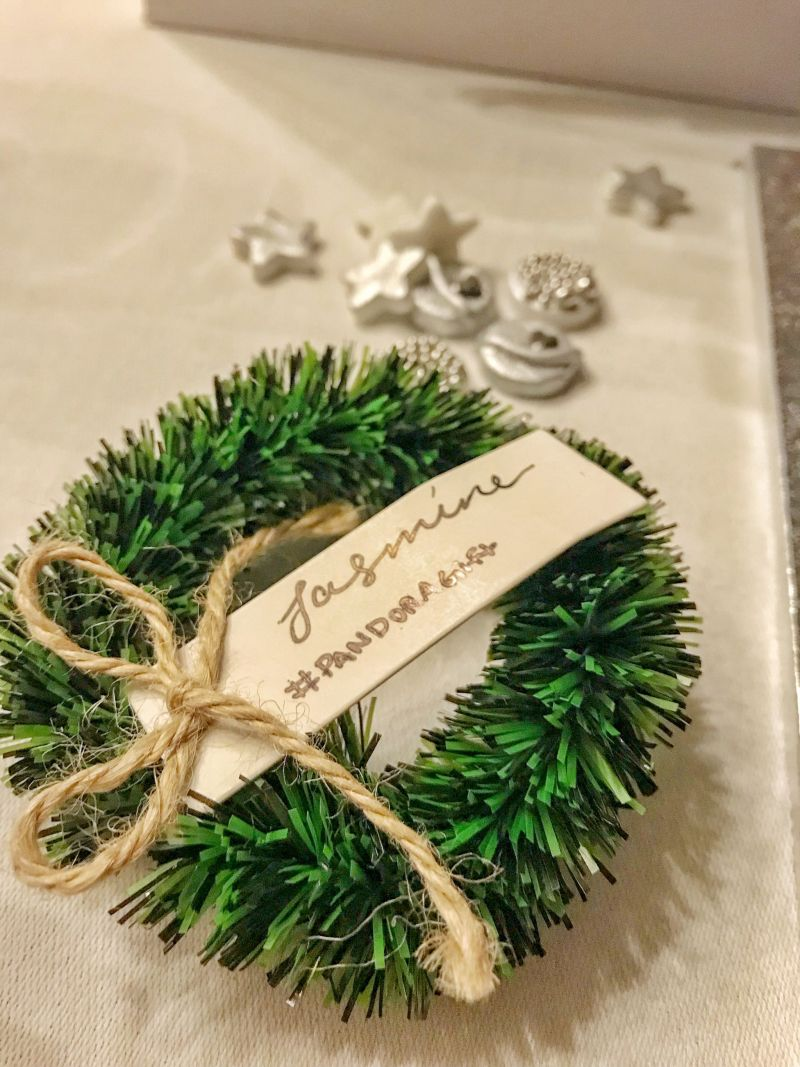 Personalised Christmas wreath and festive pandora charms