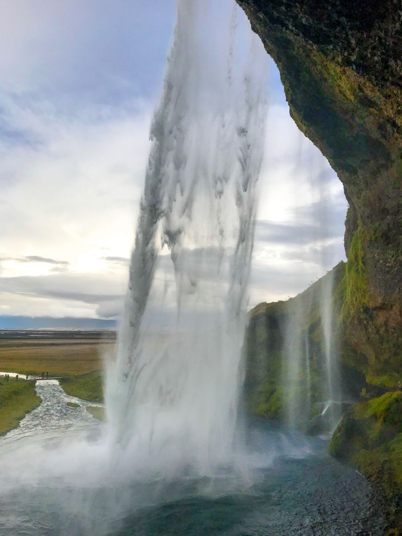 Famous Waterfall in Iceland you can walk behind Seljalandsfoss falls