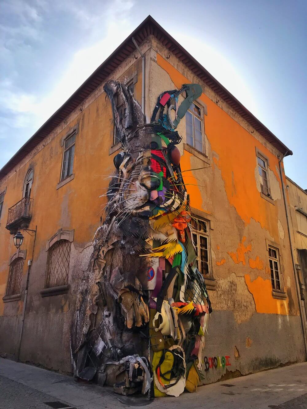 Colourful Bordalo II Rabbit Street Art Porto Portugal