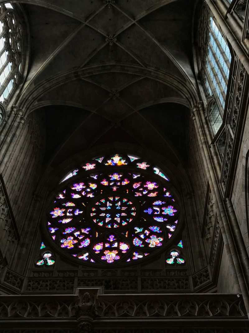 Colourful stained glass windows St. Vitus Cathedral Prague