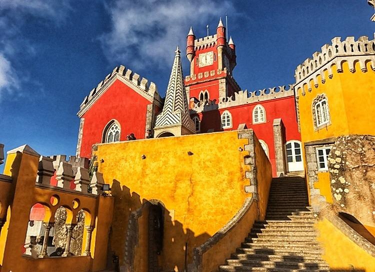 Colourful castle Sintra's Pena Palace Portugal