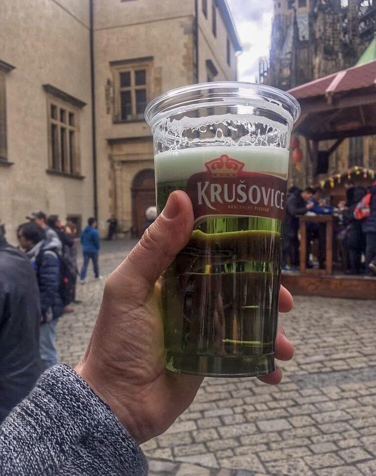 green beer in Prague