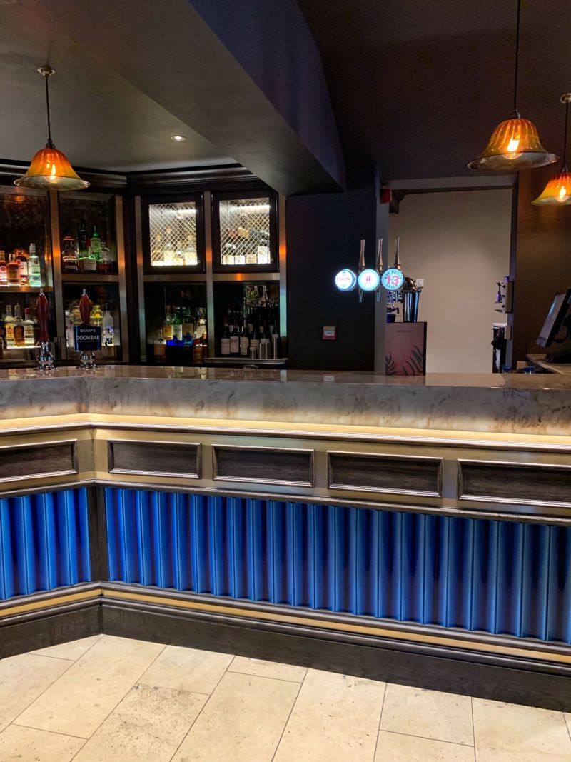 Opulent Art Deco Electric Blue Bar Area at The Wavendon Arms Milton Keynes