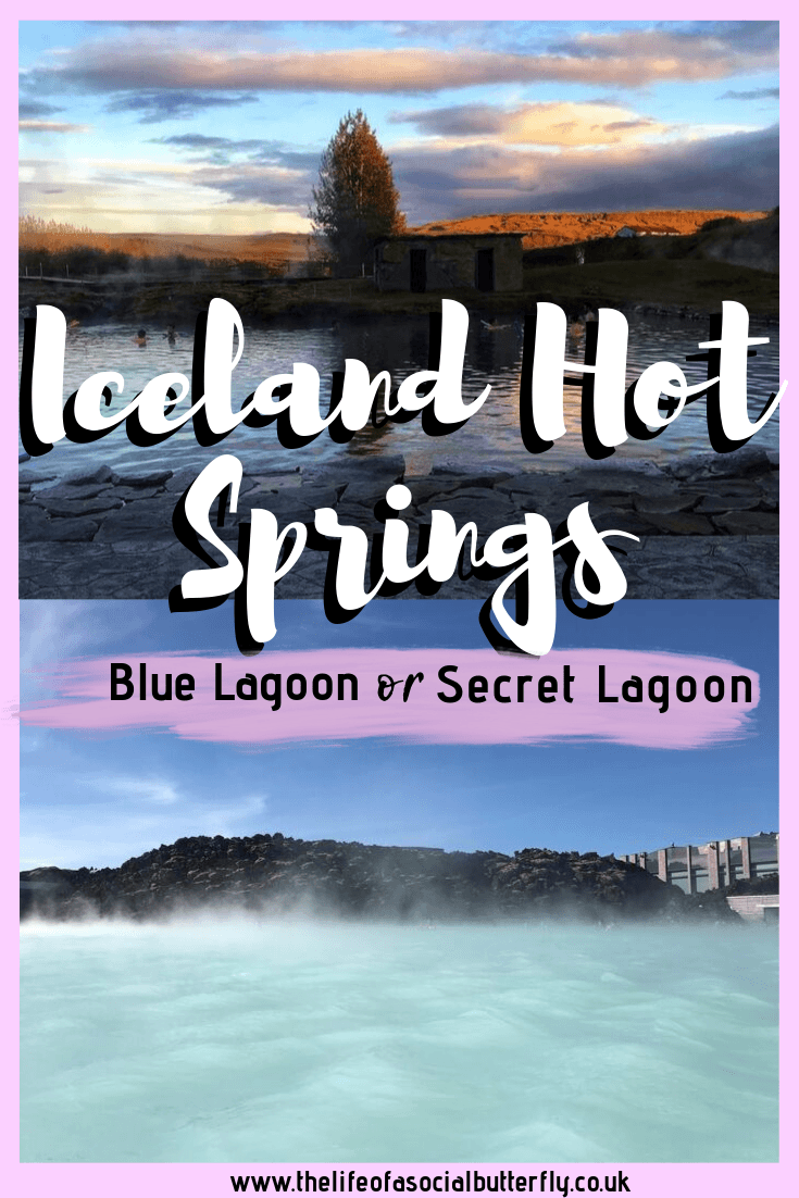 Planning a visit to Iceland's hot springs? Explore the wonder of the natural Iceland thermal baths and Iceland Blue Lagoon thermal pool. Can't choose? Read my Blue Lagoon Vs Secret Lagoon post to help you decide which of the Iceland thermal spas you want to visit! #Iceland #travel #europe #travel #Icelandhotspas #Icelandbluelagoon #Icelandsecretlagoon