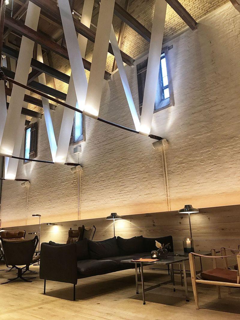 Ribbon ceiling at Hotel Ottilia Copenhagen Denmark