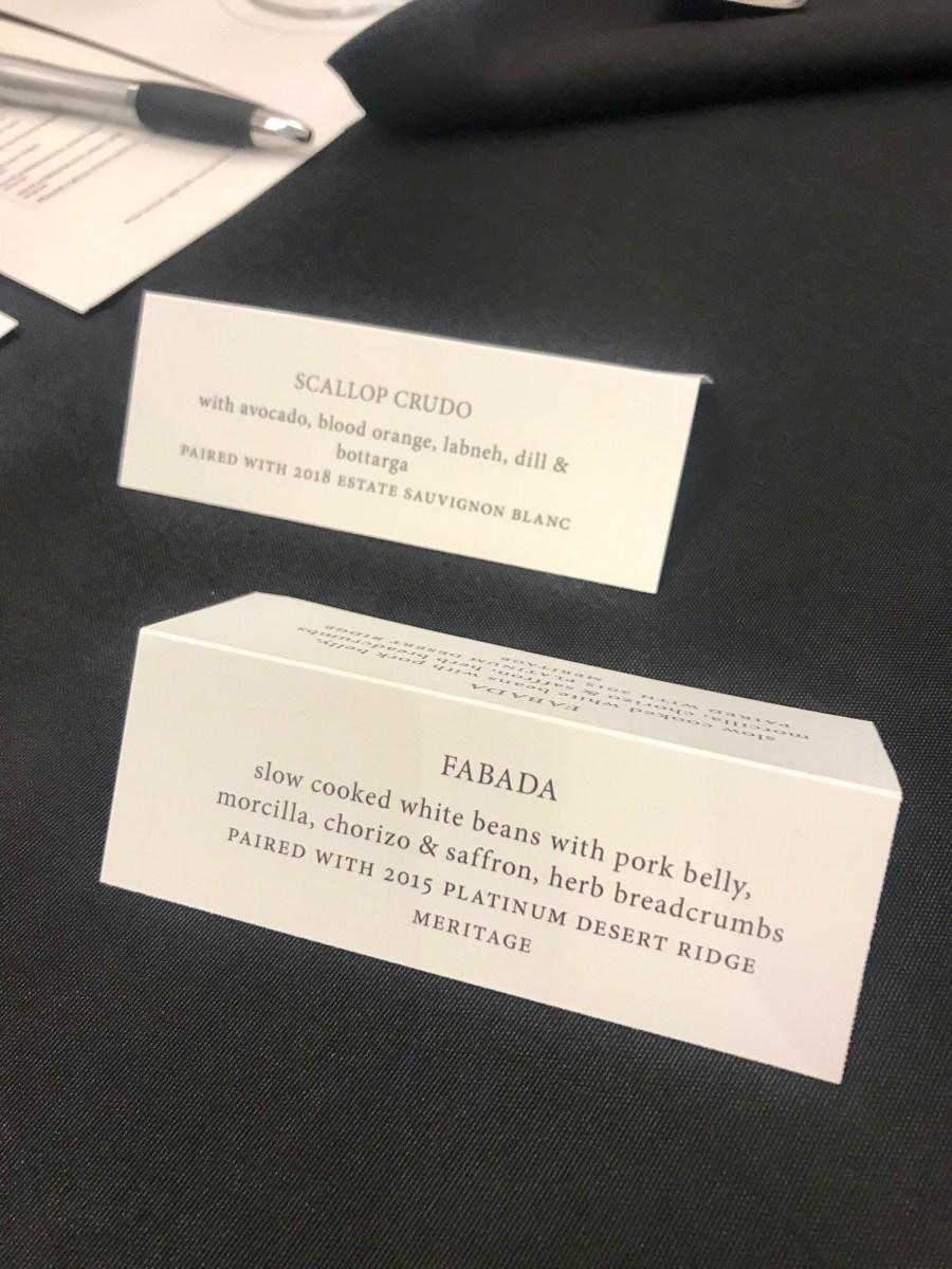 A peek of the food pairings