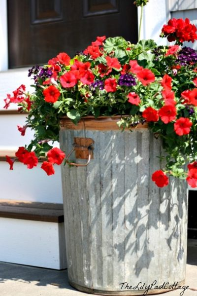 Container gardening in garbage can