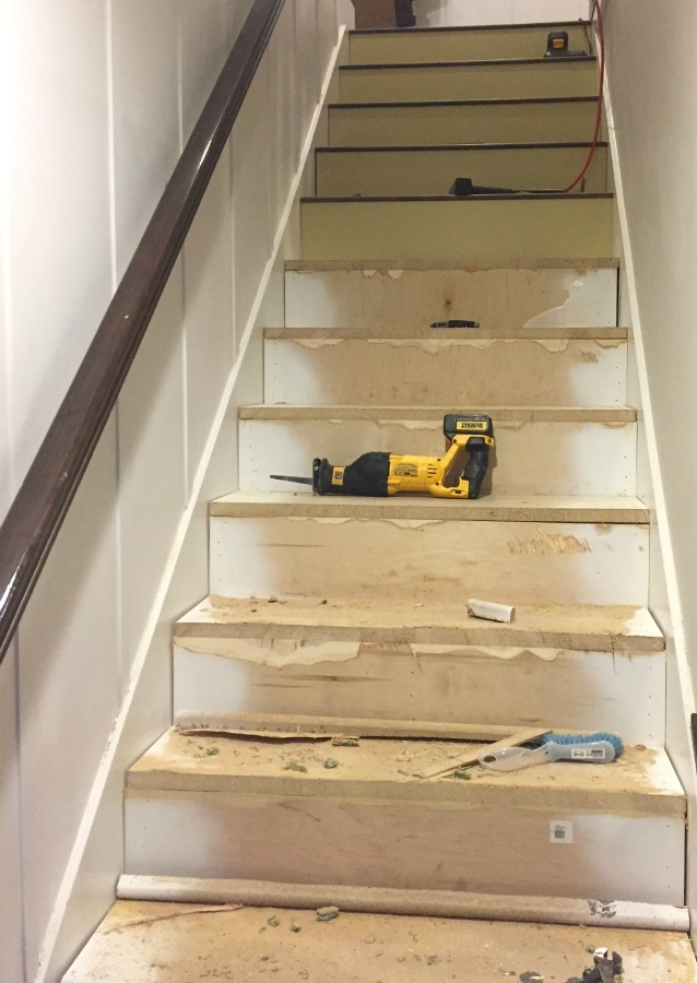 Stairway Makeover Swapping Carpet For Laminate The Lilypad Cottage | Carpeted Stairs To Wood Floor Transition | Laminate Flooring | Staircase | Hall Carpet Transition | Metal Edge Transition | Wooden