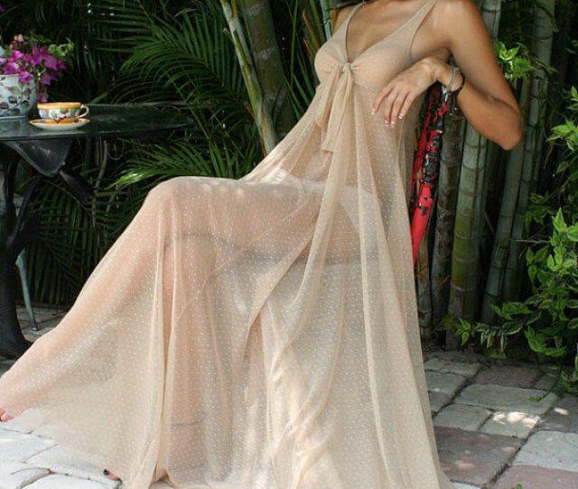 Sarafina Dreams Sheer Mesh Lace Nightgown