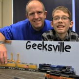 Daniel and George Bonham with their HO scale fictional layout of a U.S.A Union Pacific railroad.
