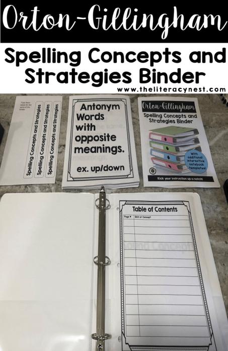 orton-gillingham lesson reference binder