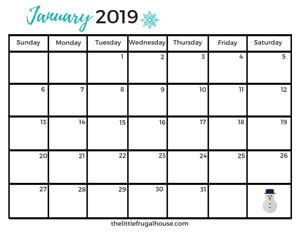 Free January Calendar Printable