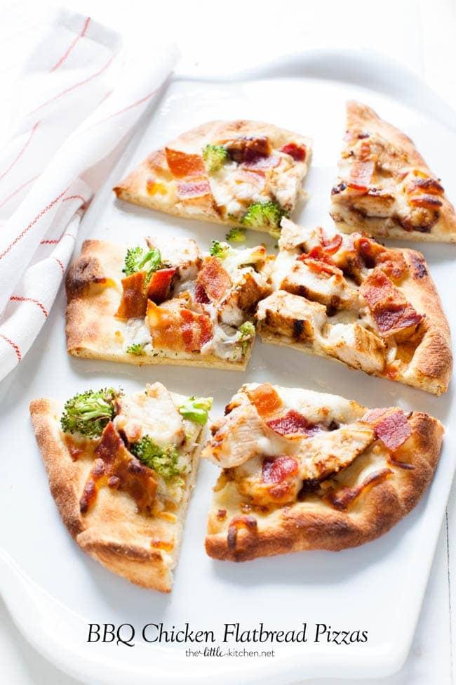 BBQ Chicken Flatbread Pizzas from thelittlekitchen.net