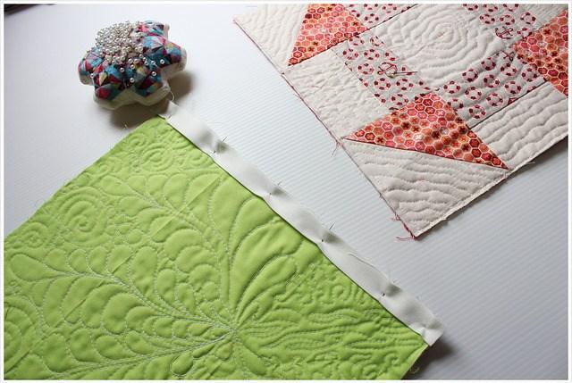 pins before stitching three layers2