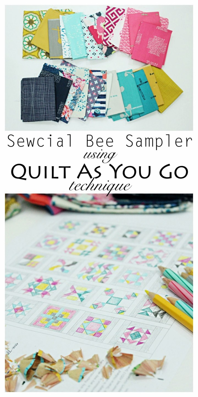 Sew Along and Quilting tutorial Sewcial Bee Sampler Art GAllery Fabrics