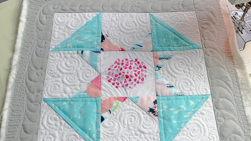 Custom free motion quilting on domestic machine sewcial bee sampler quilt