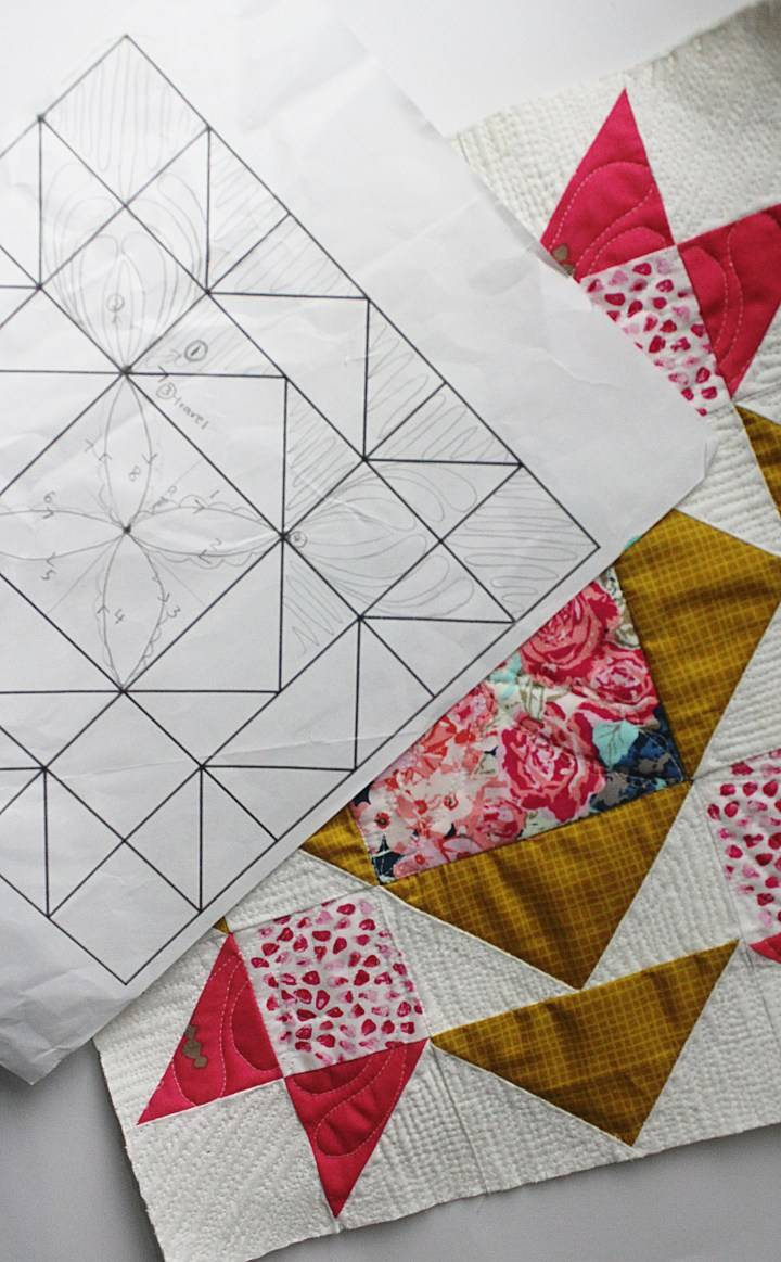 practice custom quilting using quilt as you go technique on your domestic machine